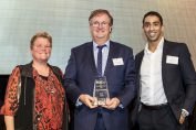 Julie McLean (President of the SCA (Vic)), Peter Hartley (Focus Plus Management) and Merrick D'Souza (Macquarie Bank)